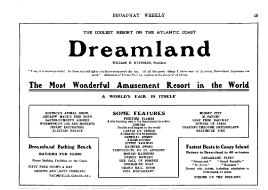 """The Coolest Resort on the Atlantic Coast""  - Advertisement for Dreamland from the July 1904 edition of Broadway Weekly. Click for full issue."