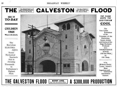 Advertisement for the Galveston Flood from the July 1904 issue of Broadway Weekly.