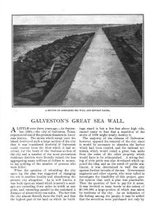 """Galveston's Great Sea Wall"" from The American Review published in November 1903 about the seawall's construction."