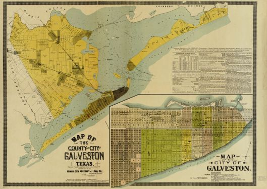 This map, made in 1891 depicts Galveston County with an inset illustrating details of Galveston city. From the Library of Congress.