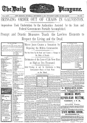 Cover story from September 13, 1900 issue of The Daily Picayune published in New Orleans, LA