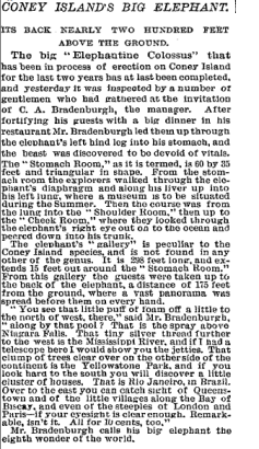 """Coney Island's Big Elephant!"" New York Times article from May 30, 1885 describing the Elephantine Colossus' debut."