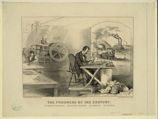 The telegraph exemplified here alongside, the team press, the locomotive and the steamboat as a symbol of nineteenth century progress.