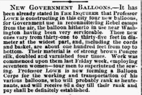 More balloons constructed - Philadelphia Inquirer, Oct. 14, 1861