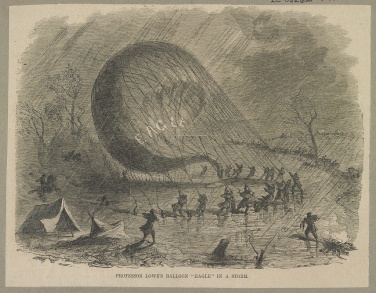 Union soldiers hold onto Eagle balloon during storm.