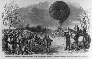 Illustration from Harper's Weekly of Professor Lowe in his balloon.