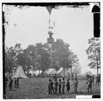Lowe ascends in order to view the Battle of Fair Oaks on May 31, 1862