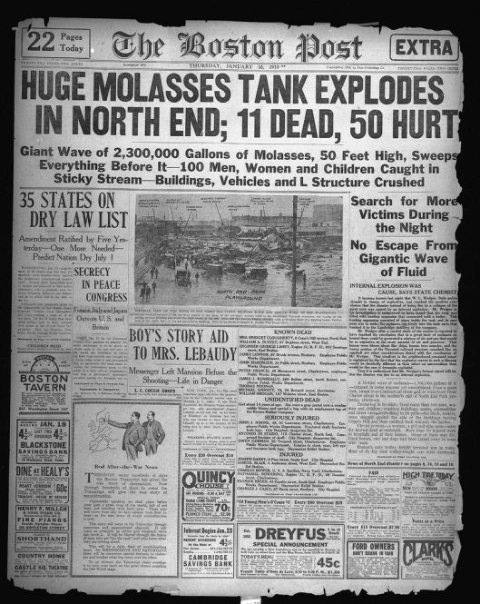 The cover of The Boston Post on January 16, 1919 announcing the tragedy. Courtesy of the Boston Public Library.